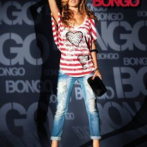 BONGO red and white striped top